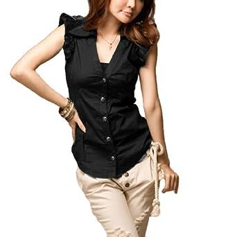 Allegra K Women Single Breast Point Collar Lace Accent Sleeve Shirt Black XS