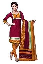 HIFI Ethnicwear Women's Dress Material(HIFI 3215_Red_Free_Size)
