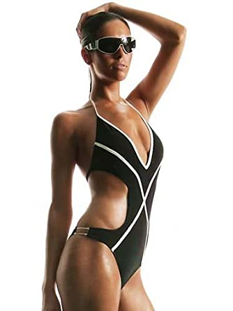 monokini badeanzug bikini schwarz weiss gr 54 amazon. Black Bedroom Furniture Sets. Home Design Ideas