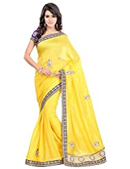Bano Tradelink Women's Jute Saree(7012, Yellow)