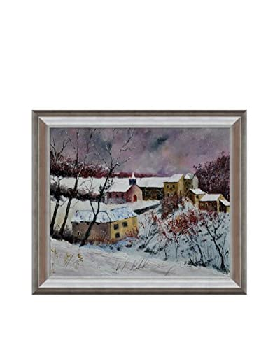 "Pol Ledent ""Snow In Houroy 67"" Framed Canvas Print"