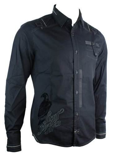 Mens Black RNT Casual Shirt Logo Party Wear Italian Design