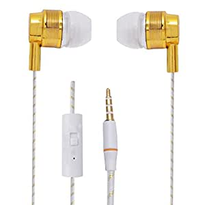 Hello Zone Premium Quality Comfort Fit Earphone Handsfree Headphone (with Glow Thread-Embedded) with Mic 3.5 MM Jack for Lava Iris 504q+ -Gold