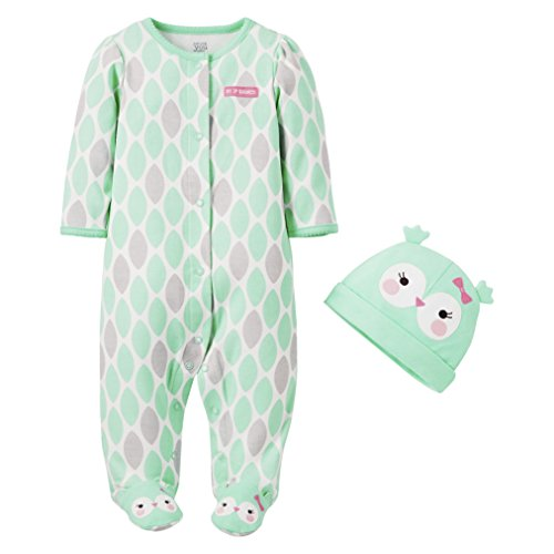 Just One You By Carter'S Girls' Long-Sleeve Sleep N' Play With Hat - Owl (9 Months) front-990812