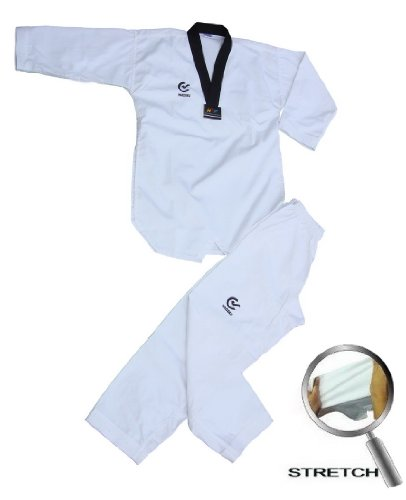 WTF Approved Taekwondo Black V neck Masters Suit - 4/170CM