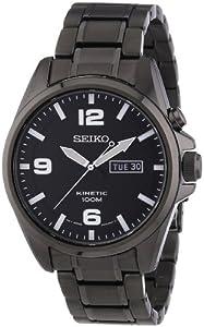 Seiko  Kinetic - Reloj de cuarzo para hombre, con correa de acero inoxidable, color negro