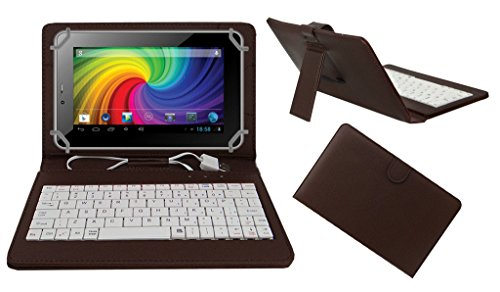 Acm Premium Usb Keyboard Tablet Case Holder Cover For Micromax Canvas P650e Cdma With Free Micro Usb Otg - Brown