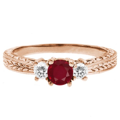 0.56 Ct Round Red Ruby White Sapphire 18K Rose Gold 3-Stone Ring