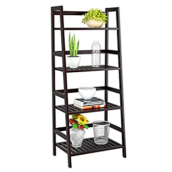Homfa Bamboo 4 Shelf Bookcase, Multifunctional Ladder Shaped Plant Flower Stand Rack Bookrack Storage Shelves, Retro Color