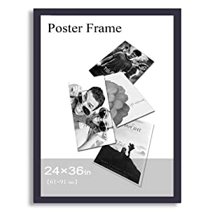 """Adeco Decorative Black Wood 1.25"""" Wide Wall Hanging Poster, Picture, Photo Frame, 24x36"""""""