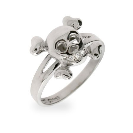Sterling Silver CZ Skull and Crossbones Ring Size 9 (Sizes 5 6 7 8 9 10 Available)