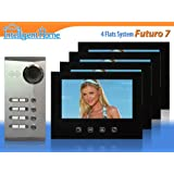 FUTURO 7 Video Door Phone Intercom System for 4 Flats/Apartmentsby Intelligent Home