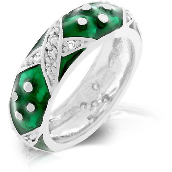 White Gold Rhodium Bonded and Forest Green Hand Applied Enamel Overlay Eternity Ring with Handset Clear CZ Xs and Silvertone Polk-a-dots in Silvertone