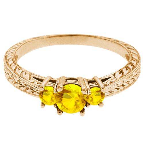 0.62 Ct Round Yellow VS Sapphire 14K Yellow Gold 3-Stone Ring