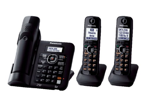 Panasonic KX-TG6643C Expandable digital cordless answering system with Power Outage back up with 3 handsets. Canadian Model (English/French).