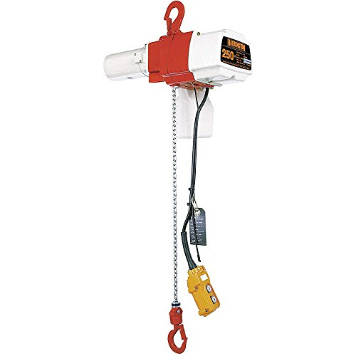 Harrington Ed Series Die Cast Aluminum Single Speed Electric Chain Hoist With Hook Suspension, Mini Trolley, 16' Pb Drop And E2D1835125 Chain Container, 125 Lbs Capacity, 19' Lift Height, 69 Fpm Lift Speed, 0.4 Horse Power, 120V
