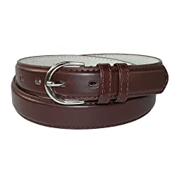 CTM® Womens Leather 1 1/8 Inch Basic Dress Belt, XL, Brown