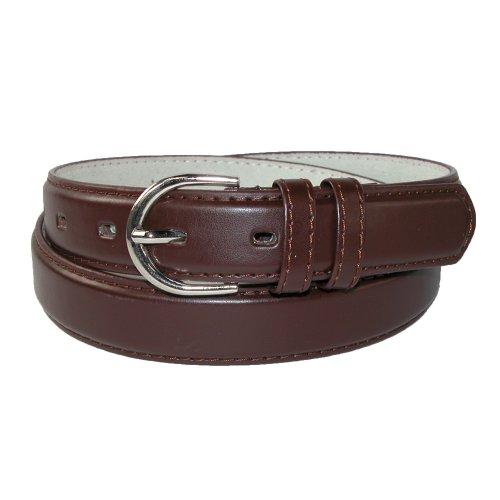 CTM® Womens Leather 1 1/8 Inch Basic Dress Belt, 2XL, Brown