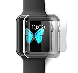 iCASEIT Apple Watch Snap-On Case & Glass 42mm (Pack of 3) Premium Slim & Light Impact & Scratch Protection (Include 3 Screen Protectors) iWatch Cases 42 mm - Clear x 3