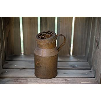 Craft Outlet 7 by 5.5 by 9.5-Inch Rustic Milk Can Container with Side Handle, Large