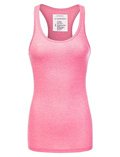 JJ Perfection Women's Solid Ribbed Knit Stretch Racerback Tank Top NPINK L