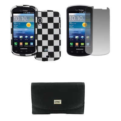 Samsung Stratosphere Schwarz Ledertasche Case Pouch with Belt Clip and Belt Loops Gummierte Snap-On Hartschale Tasche Hülle Schutzhülle Schwarz and Weiß Checkered Displayschutz Folie EMPIRE Packaging