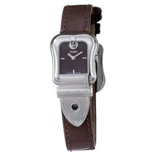 Fendi B. Fendi Ladies Shiny Brown Leather Strap Buckle Shaped Watch F370222B