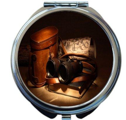 Rikki Knighttm Vintage Old Binoculars With Bag Design Round Compact Mirror