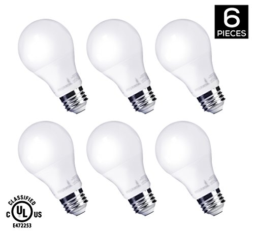 HyperSelect 9W LED Light Bulb A19 - E26 Non-Dimmable LED Bulb [60W Equivalent] , 3000K (Soft White Glow), 820 Lumens, Medium Screw Base, 340° Omnidirectional, UL-Listed (Pack of 6) (9w Led Bulb compare prices)