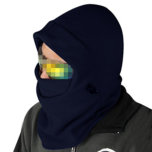 Nsstar™ Thermal Warm Fleece Full Face Mask Balaclava CS Mask Head and Neck Cover Warmer Windproof Hooded Scraf Hat for Winter Outdoor Sports Cycling Motorcycle Bike Ski Snowboard fishing with 1PCS Free Cup Mat Color Random (Royal Blue)