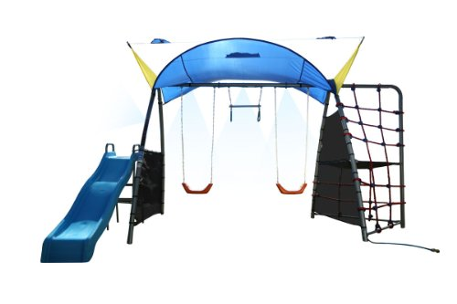 Ironkids Challenge 300 Refreshing Mist Swing Set With Rope Climb, Expanded Uv Protective Sunshade back-952033
