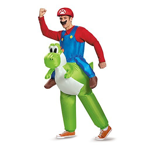 Officially Licensed, Inflatable Unisex Adult Mario Riding Yoshi Adult Fancy dress costume. - One Size.