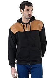 Enquotism Designer Leather Work Black Hoodie Sweatshirt