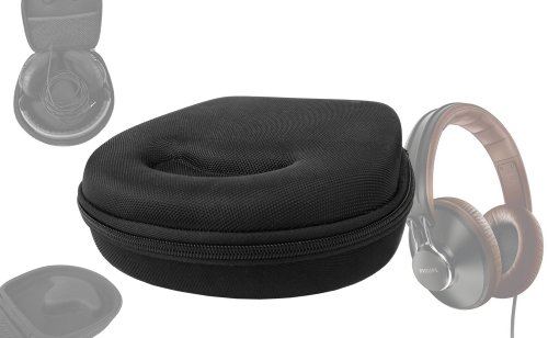 Duragadget Hard Eva Small Storage Case For Headphones / Earbuds For Philips: Sbchl145, Shp1800/00, Shb9150, Shl9705A, Shb7000/00, Heden, Citiscape Uptown, Citiscape Downtown, Citiscape Frames - With Netted Compartment (Black)