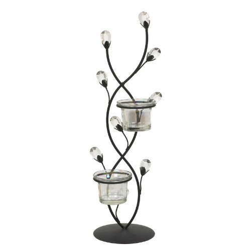 Landon Tyler 2 Piece Jewelled Leaf Tealight Holder