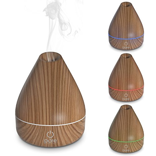 PureSpa Natural Aromatherapy Oil Diffuser - Ultrasonic Mister with 200ml Water Tank, Wood-Grain Accents and Soft Color-Changing Lights
