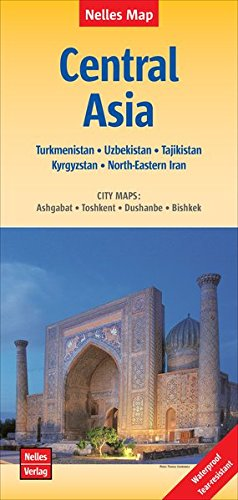 Central Asia Map (2015) (English, French and German Edition) (Map Of Central Asia compare prices)
