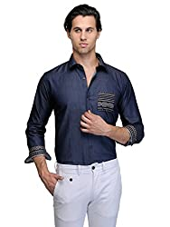 Edjoe Men's Blue With Printed Pocket Slim Fit Casual/Party Wear Shirt, BLEDMS0081