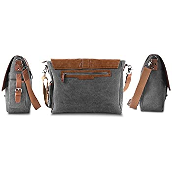 "Vetelli Laptop Bag / Shoulder Messenger Bag with ScratchProtect™ sleeve for Computers up to 15.6"" (Leather + Canvas)"