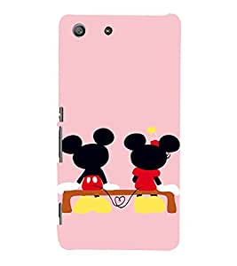 EPICCASE Mini & Mickey Heart Mobile Back Case Cover For Sony Xperia M5 (Designer Case)