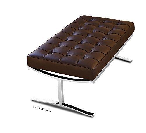 Bauhaus in pelle panca in vera pelle in acciaio inox lucidato. Figura in pelle marrone scuro (vera pelle).