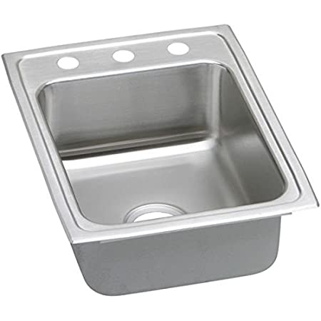 Elkay LRAD1722603 Gourmet Kitchen Sink Lustrous Satin Stainless Steel Top Mount 3 Holes