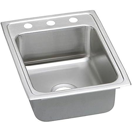 Elkay LRAD1722603 Gourmet Kitchen Sink Lustrous Satin Stainless Steel Top Mount 3 Holes
