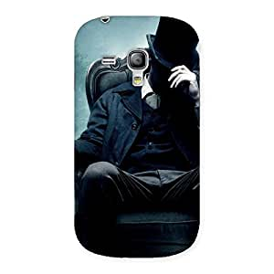 Premium Sitting Hat Man Back Case Cover for Galaxy S3 Mini