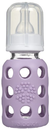 Lifefactory 4-Ounce BPA-Free Glass Baby Bottle with Protective Silicone Sleeve and Stage 1 Nipple, Lilac