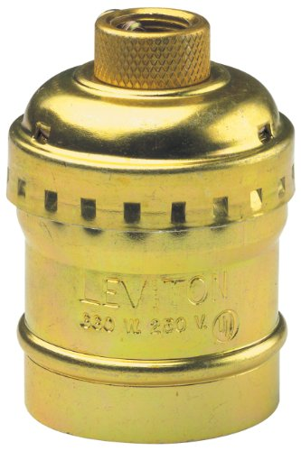 Images for Leviton 9347-PG Medium Base Complete, Aluminum Shell Incandescent Lampholder, Keyless, Single Circuit, 1/8 Ips Tapped Bushing W/Set Screw, Brass