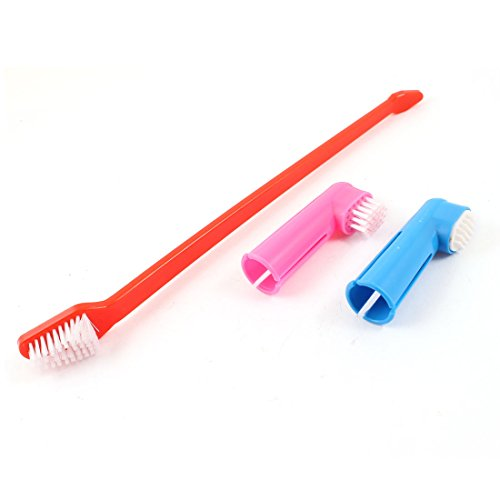 Pet Long Grip Tooth Brush Finger Brushes 3 In 1 Red Pink Blue front-961553