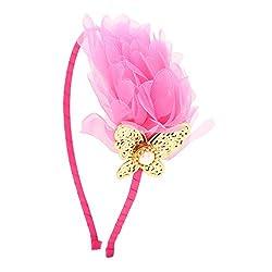 Girls Pink Chiffon Faux-Pearl Butterfly Hairband/Headband