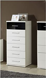 Berlin 6 Drawer Narrow German Chest Of Drawers Black Gloss and Alpine White   UK ONLY       Customer reviews and more information