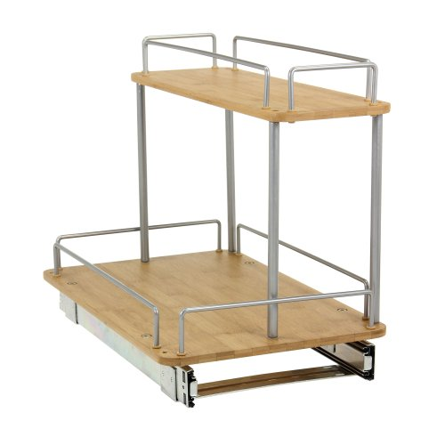 Household Essentials 2-Tier Sliding Under Cabinet Organizer with Bamboo Trays, 11.5-Inch